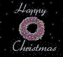 Happy Christmas Wreath Card by Bernie Stronner