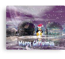 Penguin's Merry Christmas Metal Print