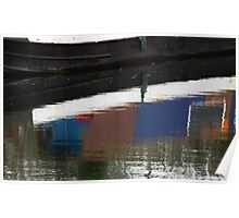 reflections of a narrow boat, Worcestershire, UK Poster