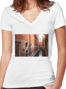 Impressions of Venice – Palaces and Side Canals Women's Fitted V-Neck T-Shirt
