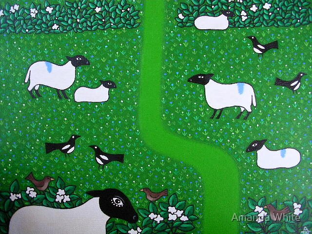 Sheep and Magpies by Amanda White