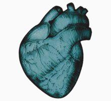 Anatomical Heart - Cyan Sticker by Squidy