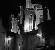 The floodlight church at Capestang France by Paul Pasco