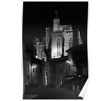 The floodlight church at Capestang France Poster