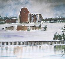 Benets Abbey in Winter by Jorja
