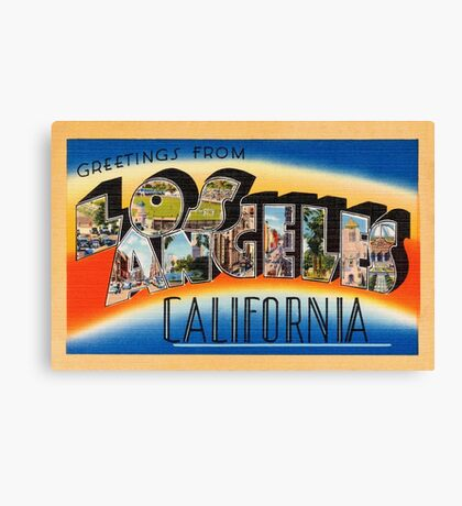 Los Angeles Vintage Travel Postcard Restored Canvas Print