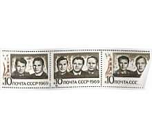 Soyuz program stamp series The Soviet Union 1969 CPA 3809   3811 triptych Triple Space Flights_png USSR Poster