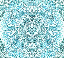 Turquoise Blue, Teal & White Protea Doodle Pattern by micklyn