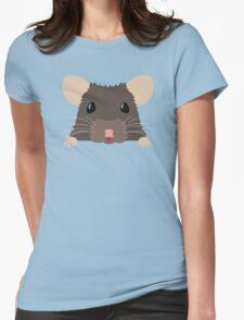 Cute peeking pet RAT Womens Fitted T-Shirt