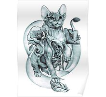 RISHAMA steampunk tattoo cat kitten biomechanics mechanics vintage Poster