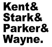 Kent&Stark&Parker&Wayne. Photographic Print