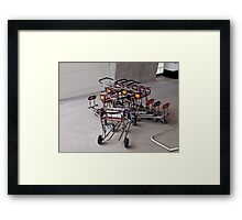 Saturday afternoon: meeting of 7 luggage carts Framed Print