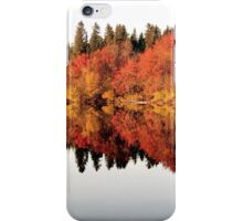 Red trees reflection in mirror lake iPhone Case/Skin