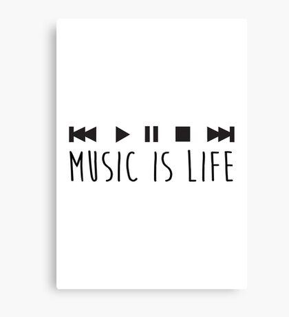 Music Is Life - Black Canvas Print
