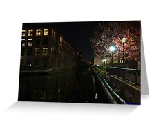 Industrial Canyon at Night Greeting Card