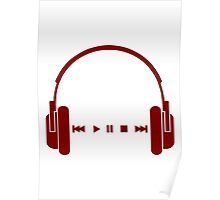 Music + Headphones - Red Poster