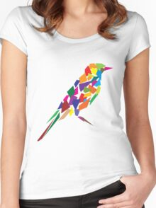 Colorful Abstract Bird Women's Fitted Scoop T-Shirt