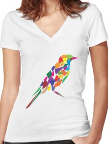 Colorful Abstract Bird Women's Fitted V-Neck T-Shirt