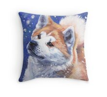 Japanese Akita Fine Art Painting Throw Pillow