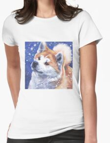 Japanese Akita Fine Art Painting Womens Fitted T-Shirt