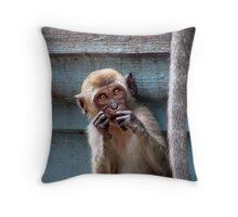 Cute Macaque Throw Pillow