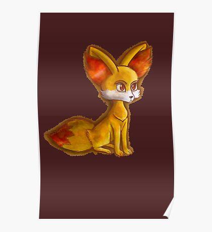 Fire Fennekin Pokemon  Poster