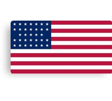 Historical Flags of the United States of America 1859 to 1861 US Flag With 33 Stars and 13 Stripes Canvas Print