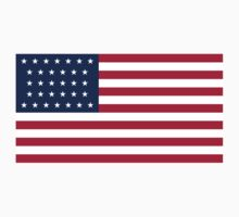 Historical Flags of the United States of America 1858 to 1859 US Flag With 32 Stars and 13 Stripes Kids Tee