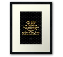 """""""Few things can help an individual more than to place responsibility on him, and to let him know that you trust him"""" - BOOKER T. WASHINGTON Framed Print"""