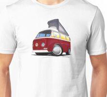 VW Bay (Early) Pop-Top Dark Red Unisex T-Shirt