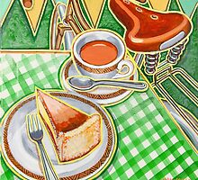 Eroica Britannia Bakewell Pudding and cup of tea on green by markhowardjones