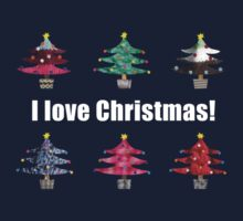 Christmas Trees I Love Christmas Fabric Collage One Piece - Long Sleeve