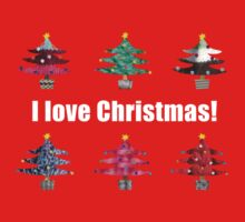 Christmas Trees I Love Christmas Fabric Collage One Piece - Short Sleeve