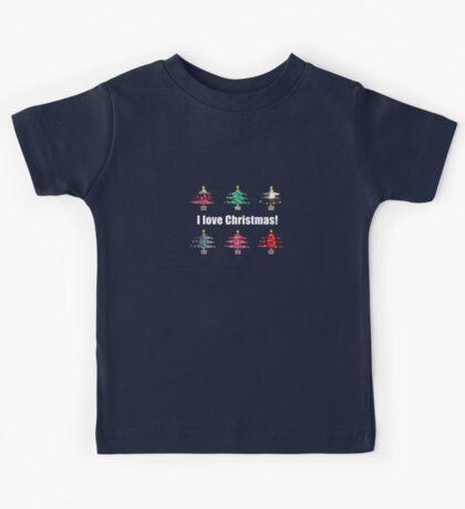 Christmas Trees I Love Christmas Fabric Collage Kids Tee