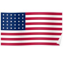 Historical Flags of the United States of America 1848 to 1851 US Flag with 30 Stars 13 Stripes Poster