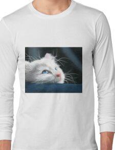 Blue-Eyed Kitten Drawing Long Sleeve T-Shirt