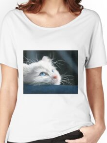 Blue-Eyed Kitten Drawing Women's Relaxed Fit T-Shirt
