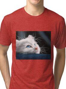 Blue-Eyed Kitten Drawing Tri-blend T-Shirt