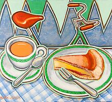 Bakewell Pudding and cup of tea at Eroica Britannia by markhowardjones