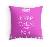 keep calm unicorn Throw Pillow