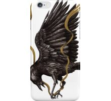 Breaking Point - Crow Falling with Gold Ribbon iPhone Case/Skin