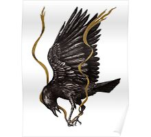 Breaking Point - Crow Falling with Gold Ribbon Poster