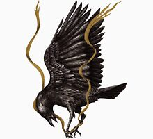 Breaking Point - Crow Falling with Gold Ribbon Unisex T-Shirt