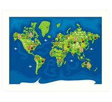 cartoon map of the world Art Print