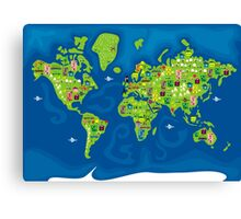 cartoon map of the world Canvas Print