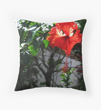 floating red flower  Throw Pillow