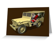 Santa Claus In Willys Jeep Greeting Card