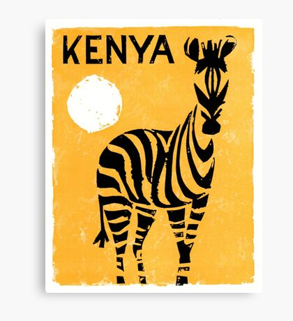 Kenya Africa Vintage Travel Poster Restored Canvas Print