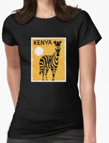 Kenya Africa Vintage Travel Poster Restored Womens Fitted T-Shirt