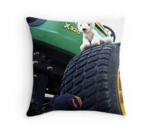 Playing on a Tractor Throw Pillow